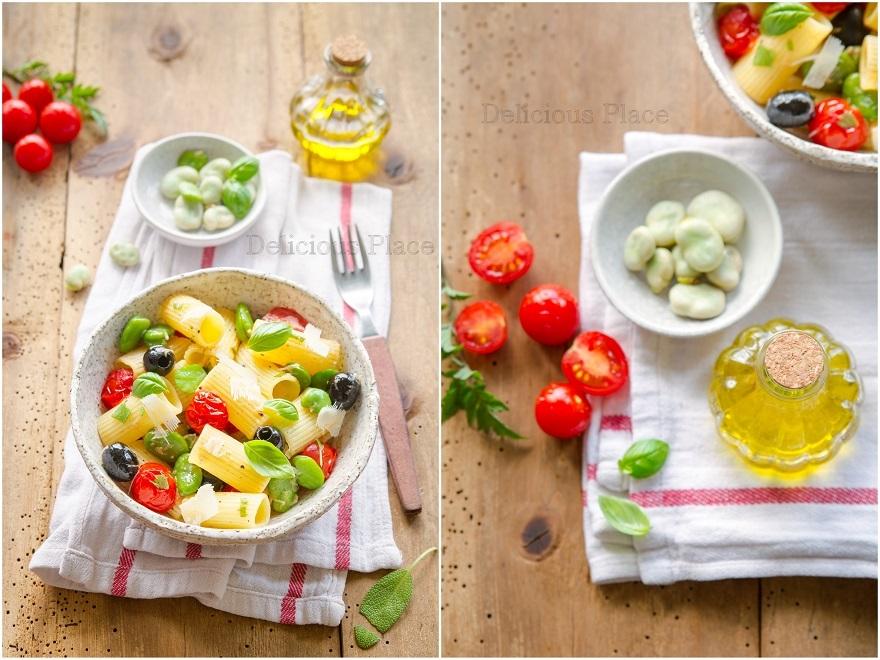 Makaron z bobem, szałwią i oliwkami