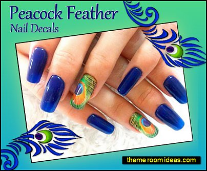 Peacock Feather Nail Decals Peacock nail art Peacock background nails peacocks nail designs