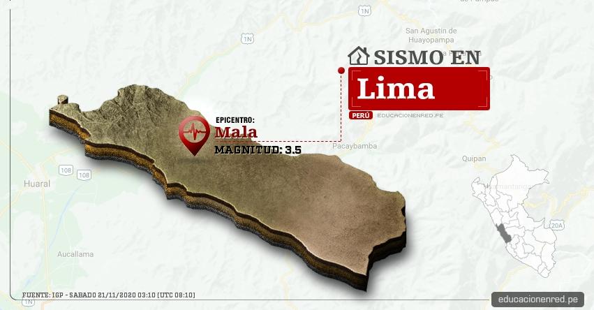 Temblor en Lima de Magnitud 3.5 (Hoy Sábado 21 Noviembre 2020) Sismo - Epicentro - Mala - Cañete - IGP - www.igp.gob.pe