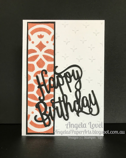 Stampin' Up! Happy Birthday thinlits and embossing paste card by Angela Lovel, Angela's PaperArts