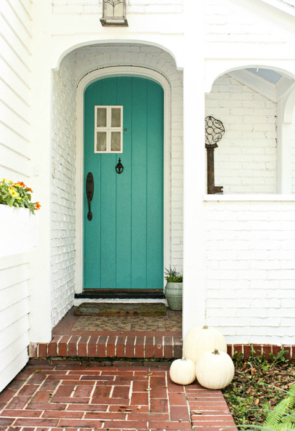 front door painted with benjamin moore blue spa