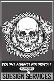 Skull with Pistons Against Motorcycle Gear Emblem - Biker Skull Motorcycle Helmet Crossed Engine