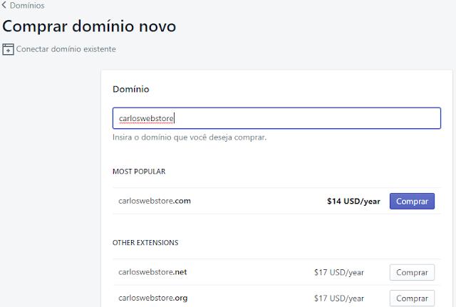 adicionar domínio loja virtual shopify brasil