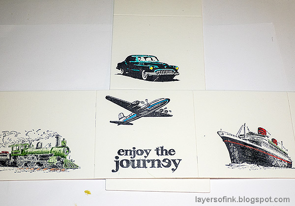 Layers of ink - Vintage Transportation Box Tutorial by Anna-Karin Evaldsson. Color with colored pencils.