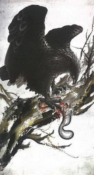從美學範疇和藝術角度看  國畫《鷹蛇鬥》的深意