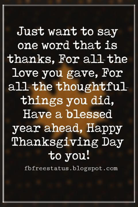 Happy Thanksgiving Messages, Just want to say one word that is thanks, For all the love you gave, For all the thoughtful things you did, Have a blessed year ahead, Happy Thanksgiving Day to you!