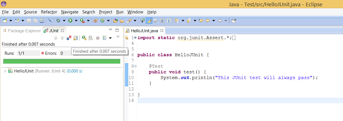 How to see result of JUnit test in Eclipse IDE