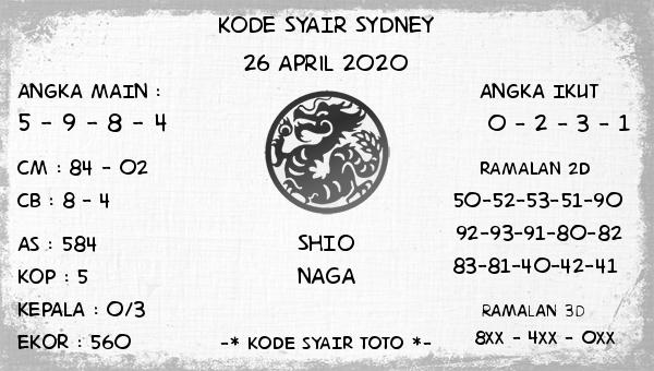 Prediksi Sidney 26 April 2020 - Kode Syair Sidney