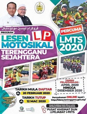 Permohonan Lesen Motosikal Percuma Terengganu Sejahtera 2020 Online (LMTS)