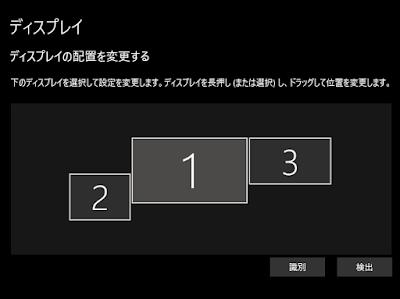 ディスプレイ設定画面で複数のディスプレイ位置を調整する