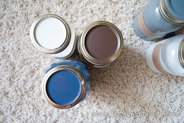 move paint to mason jars and paint the lid for easy identification