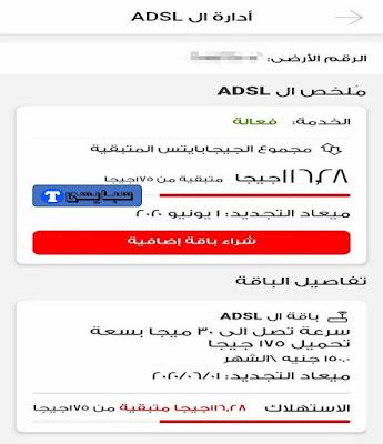 معرفة استهلاك باقة النت فودافون الأرضي Vodafone ADSL 2021