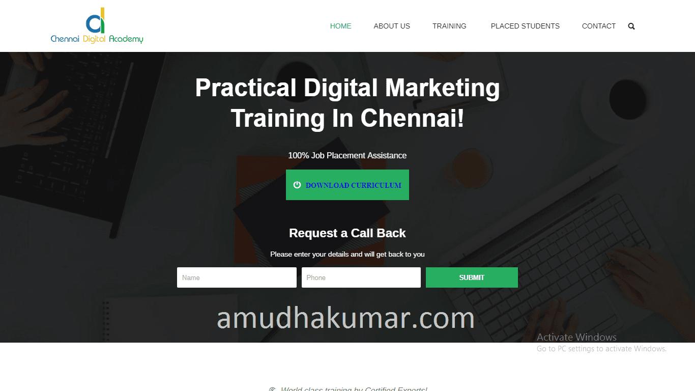 Chennai Digital Academy Digital Marketing Training institute in chennai Amudhakumar