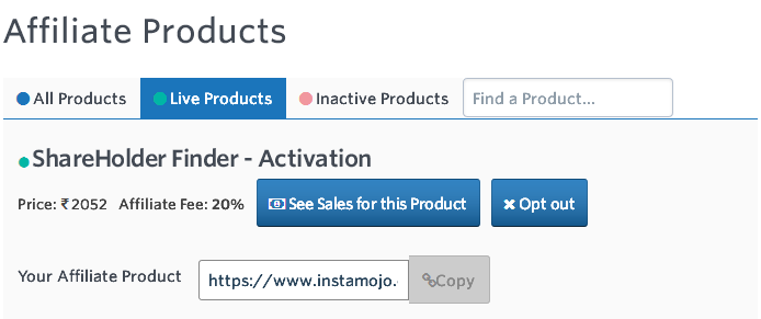 ShareHolder Finder Instamojo Affiliate Product