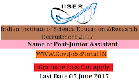 IISER Bhopal Recruitment 2017– Junior Assistant