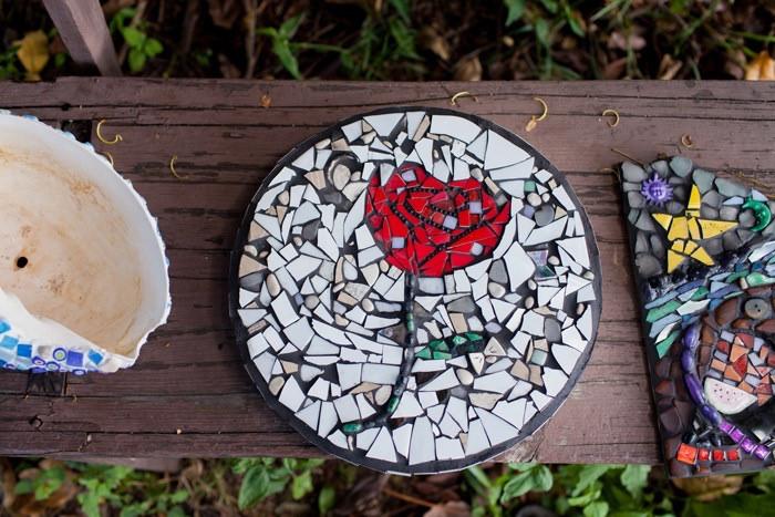 rose garden mosaic tile paver