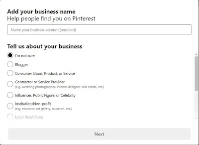 Enter the name of your business account required field And next select the business category followed by various options