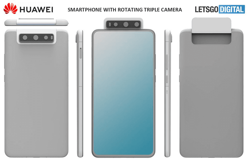 A patent shows Huawei upcoming triple rotating camera phone design