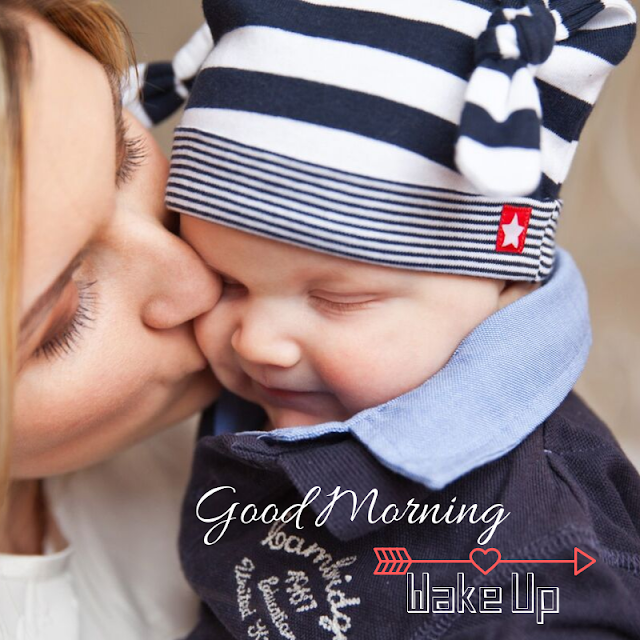 Good Morning Images baby image with mother kiss