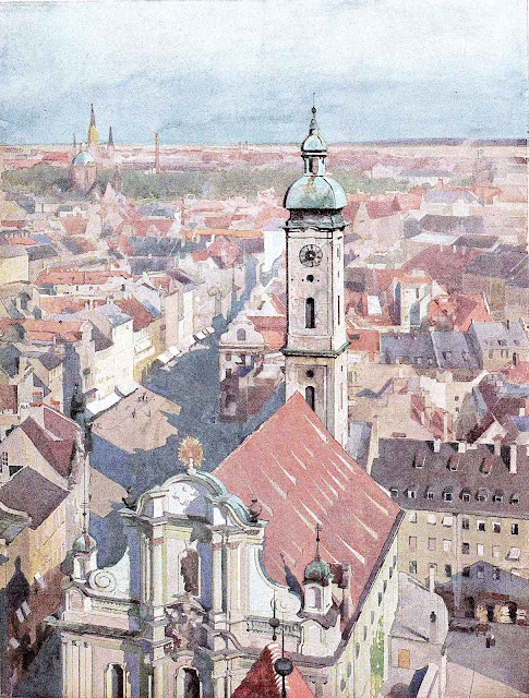 a Heinrich Kley 1913 watercolor painting of a European town