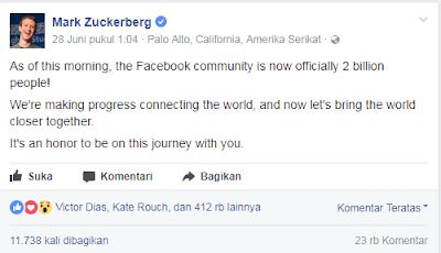 Facebook Saat Ini Memiliki 2 Miliar Pengguna