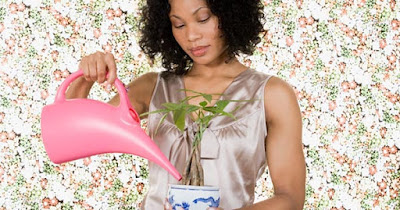 Woman watering indoor plants