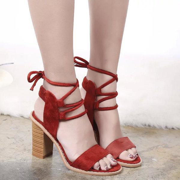 Suede Strappy Peep Toe European Style Chunky Heel Lace Up Sandals, wishlist newchic, sandália de suede, sandália de tiras
