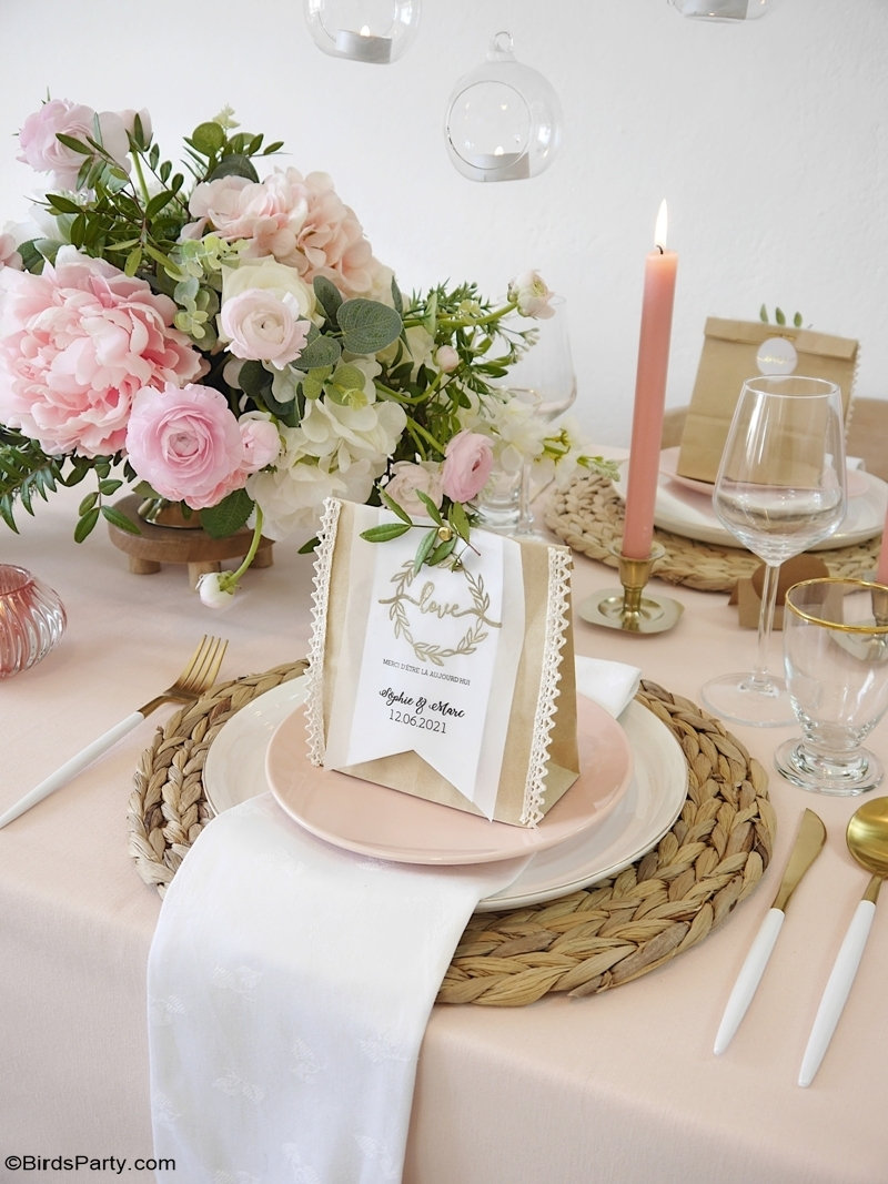 DIY Ideas for a Small Indoor Wedding - easy, DIY crafts and décor and favors for celebrating your micro wedding at home or in a small venue! by BirdsParty.com @BirdsParty #diy #wedding #diywedding #weddingideas {weddingfavors #bohowedding #weddingpackaging #smallwedding #weddingfavorideas