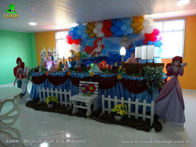 Decoração de mesa de aniversário tema Ariel - Festa infantil