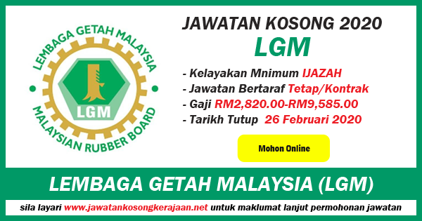 jawatan kosong kerajaan lembaga getah malaysia 2020