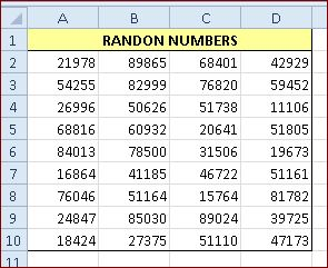 How to generate random character strings in a range in Excel