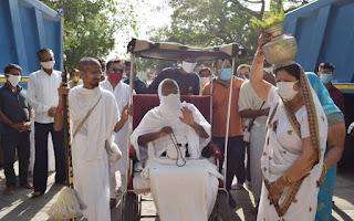आचार्य श्री ऋशभचन्द्रसूरि म.सा. का श्री मोहनखेड़ा तीर्थ पर हुआ आगमन