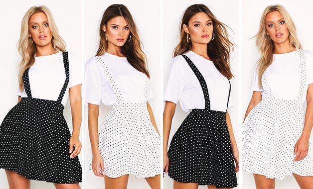 White T-shirt + Pinafore Skirt