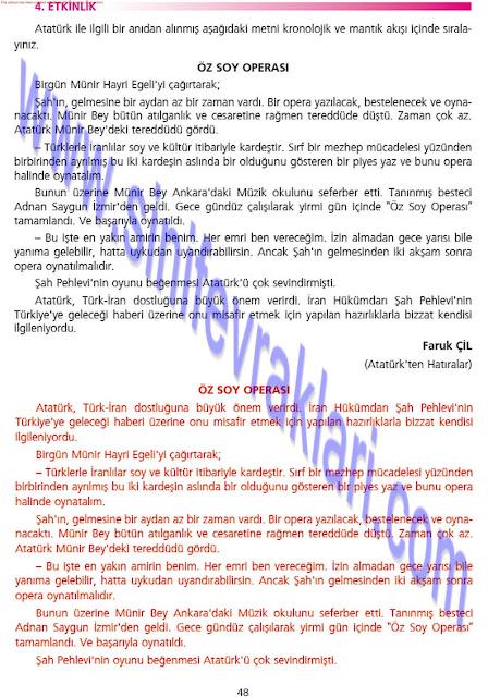 Ezde Yayınları 7. Sınıf Türkçe Çalışma Kitabı Cevapları Sayfa 48