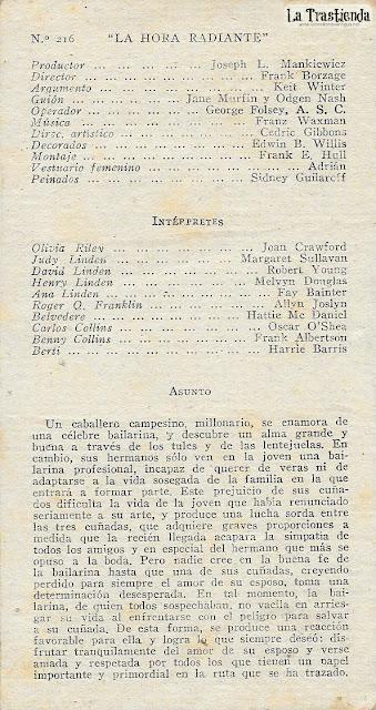 La Hora Radiante - Programa de Cine - Joan Crawford - Robert Young - Margaret Sullavan - Melvyn Douglas