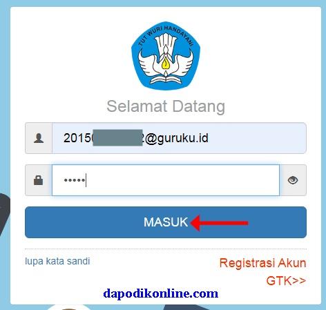 Masukkan username dan  password kemudian klik masuk