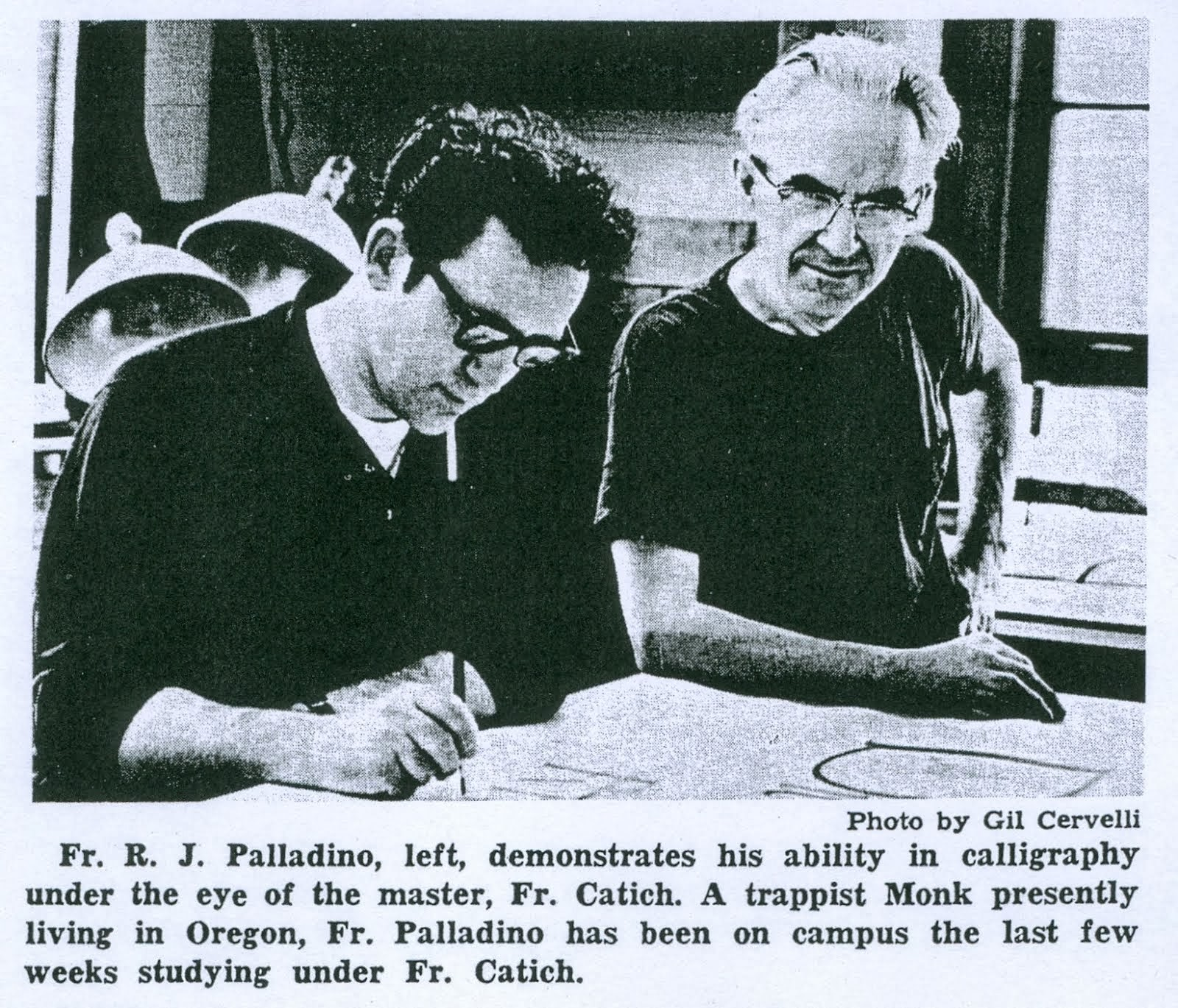 Father Robert Palladino meets Father Catich 1969