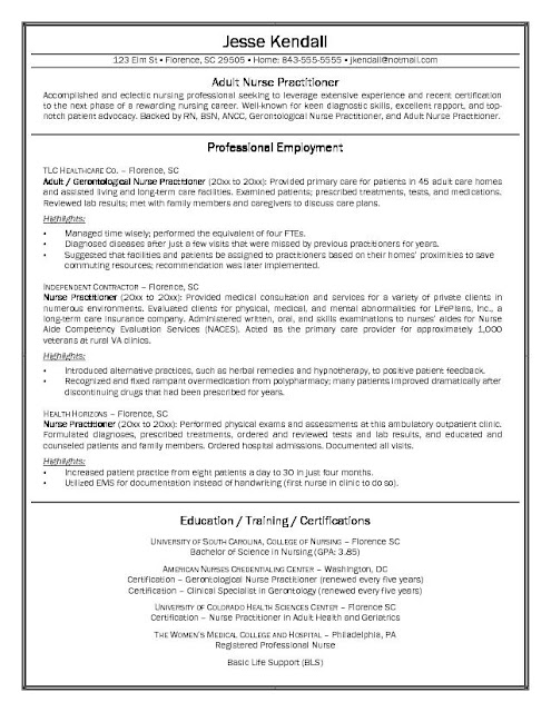 Nurse Practitioner Resume Samples Sample Resumes