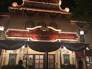 Great Moments with Mr. Lincoln Facade Disneyland at Night
