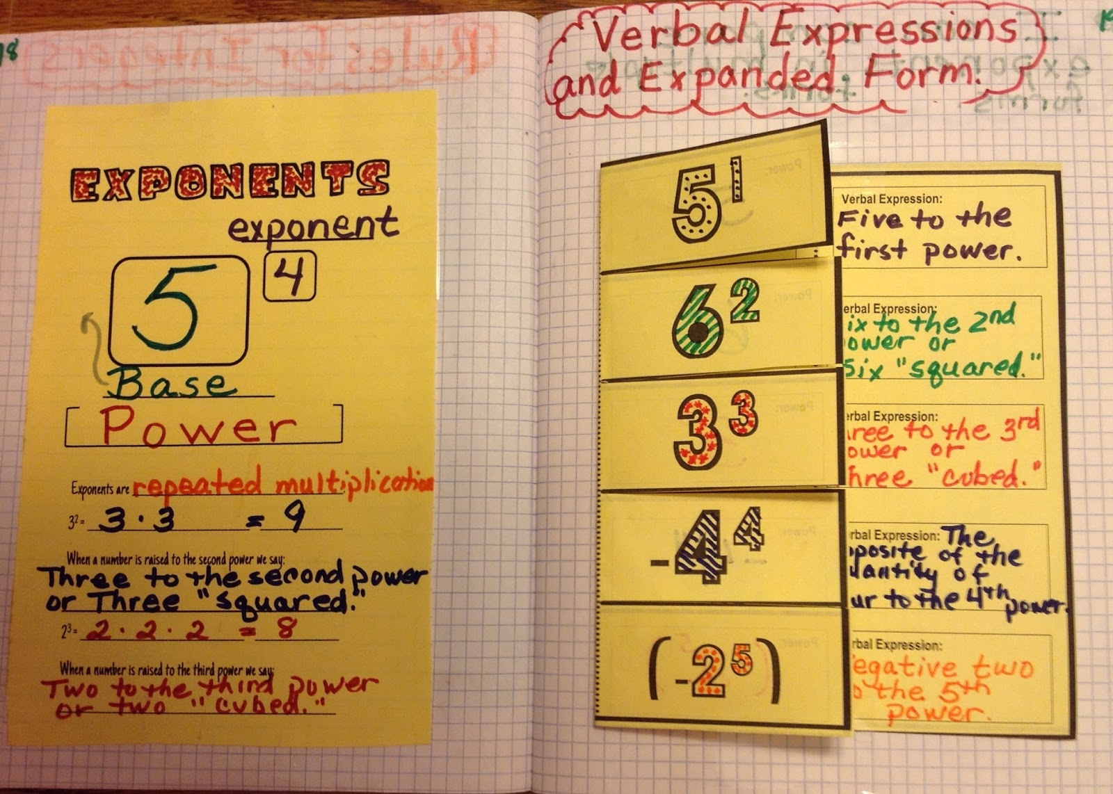 Equation Freak Exponent Interactive Notebook Pages