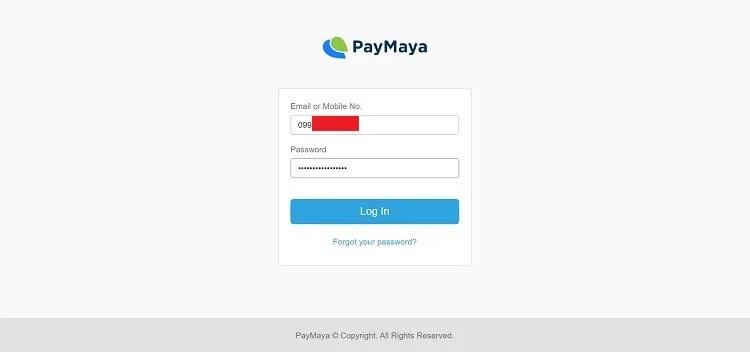 PayMaya Log-in Page