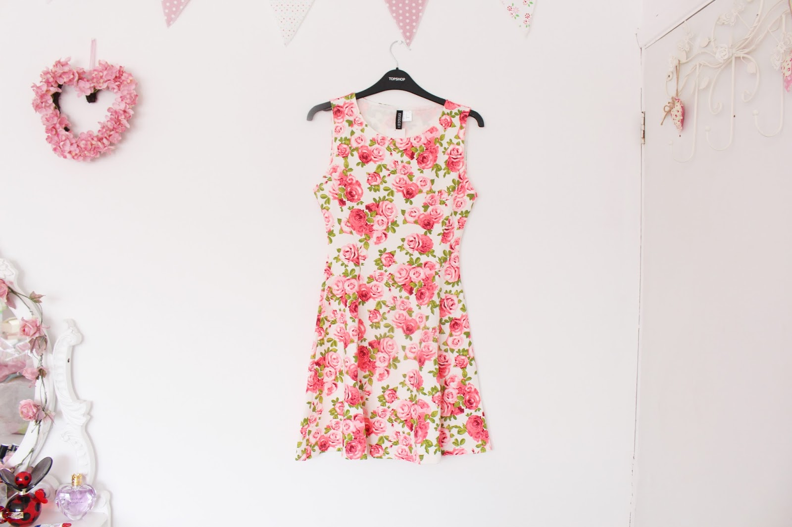 H&M Rose Print Skater Dress