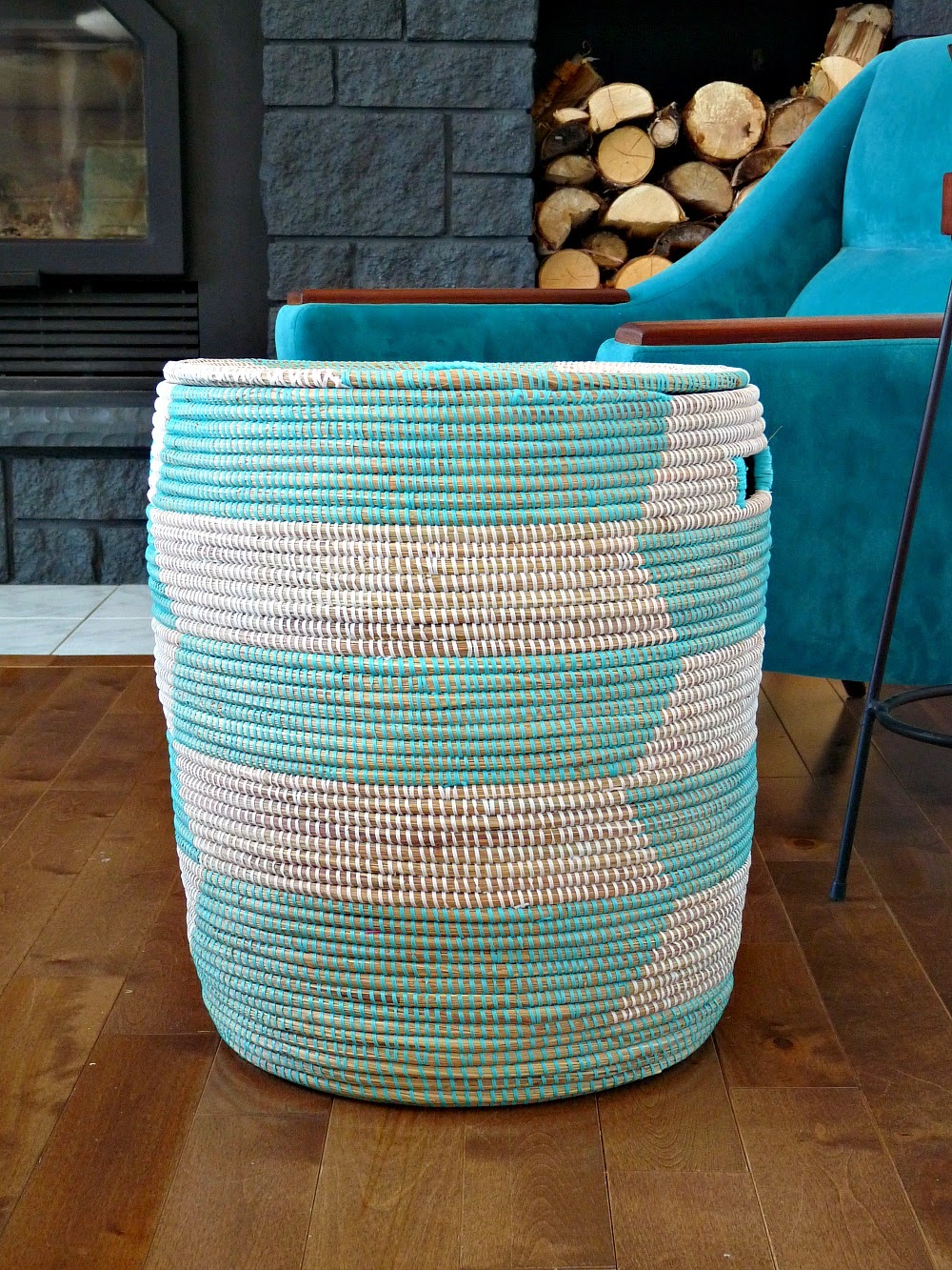 Uncommon Goods Review - Turquoise Woven Storage Bin