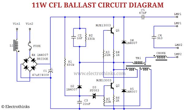 Schematic of 11W CFL Bulb Ballast Circuit