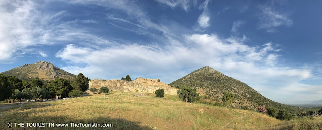 Panorama view over UNESCO site Mycenae in Greece