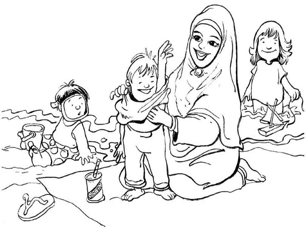 Daftar Mewarnai Gambar Anggota Keluarga Muslim