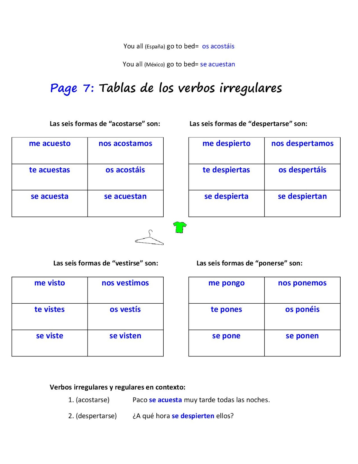 Clases De Espanol Answer Key On Packet Given Tuesday 08