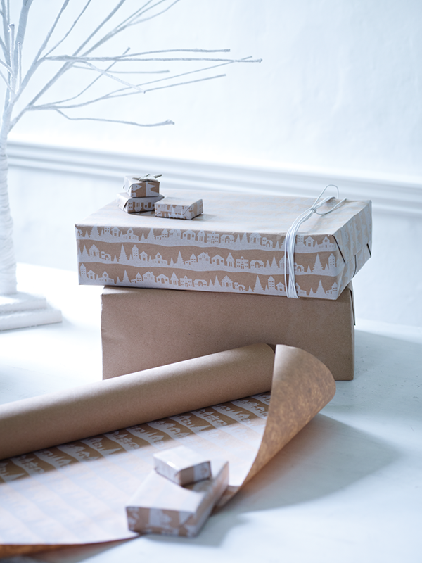 Cox and cox christmas gift wrap ideas - snowy houses on kraft paper