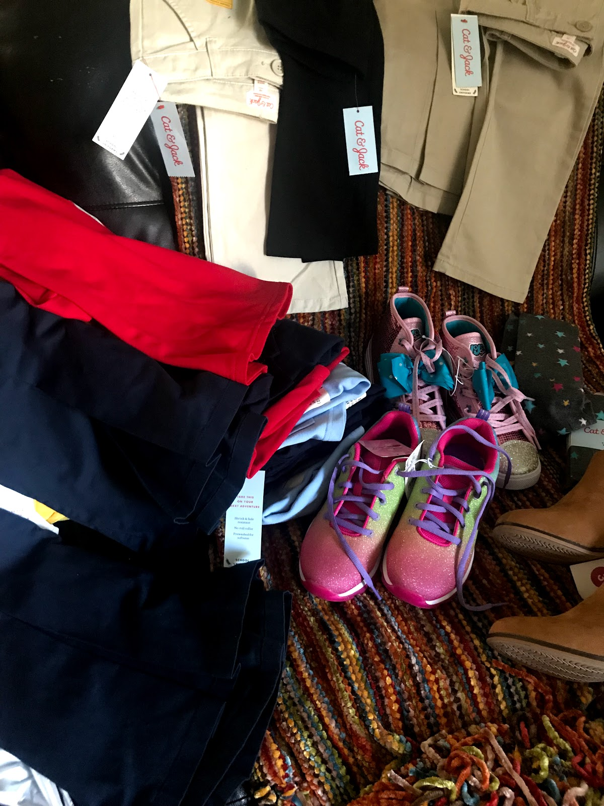 Image: Shoes, and clothes bought by Tangie Bell for back to school. Seen first on Bits and Babbles blog