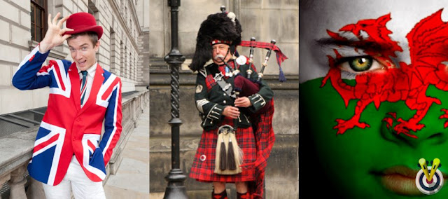 Cockney in a bowler hat, scottish bagpipe player and welsh face paint